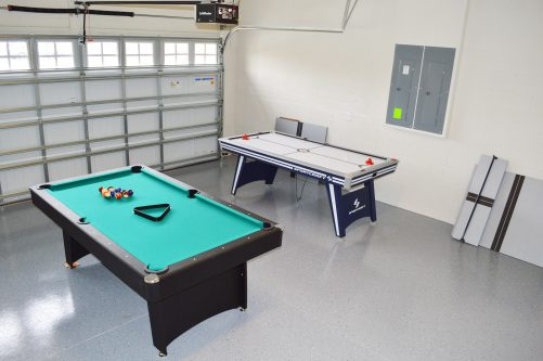 Garage pool and air hockey tables